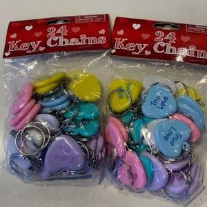 Valentine's Hearts Keychains 2 Packs Total 48 pcs